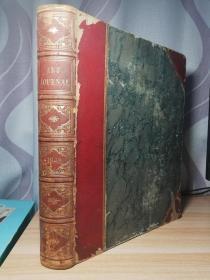 1849 年 THE ART JOURNAL  380页全不缺页   含37副整页版画  半皮装帧  三面书口花纹  32.5X24cm
