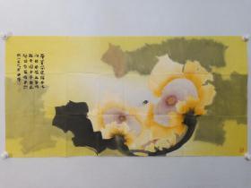 保真,著名画家贾大年先生工笔重彩向日葵草虫国画一幅,尺寸 68×136.5cm