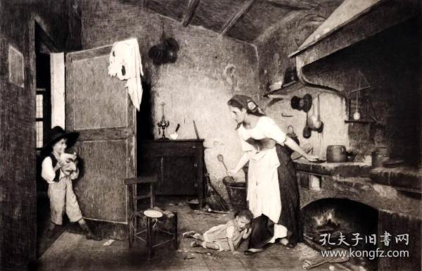 """1886年意大利艺术系列铜版画《乐趣和恐惧》—意大利画家""""GAETANO GIUERICI""""作品 42x29cm"""
