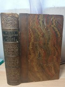 1854年 MILES WALLINGFORD OR AFLOAT AND ASHORE BY COOPER  半皮装帧 书口花纹 16.2X11CM