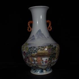 清雍正珐琅彩山水人物双耳瓶