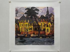 保真书画, 汕头画院副院长,汕头美协副主席蔡宝烈,重彩国画一幅,尺寸66×65.5cm,带作者合影。