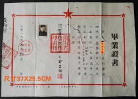 1955年四川省荣昌中学校毕业证书,校长邓昌榆签发,背有修补