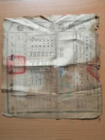 1951年开封县盖政府大方印.县长和副县长签名的第六区河东街村赵四禄的土地房产所有证