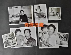 一个可爱小女孩的家庭生活老照片7张,老式黑白电视机背景,全景福合影等等