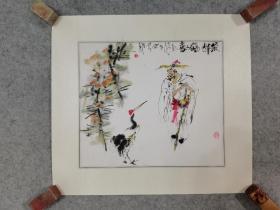 成都名家许老师 国画小品镜片 松龄鹤寿 原稿手绘真迹
