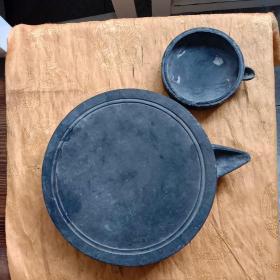 老砚台(有碰磕,直径20厘米,小的直径10厘米无盖