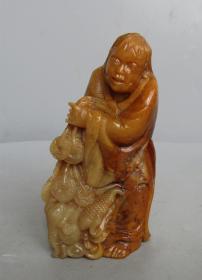 八十年代寿山石刘海戏金蟾人物摆件