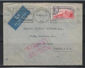 英属直布罗陀二战航空实寄封,1940年邮寄至英国伦敦,销审查戳