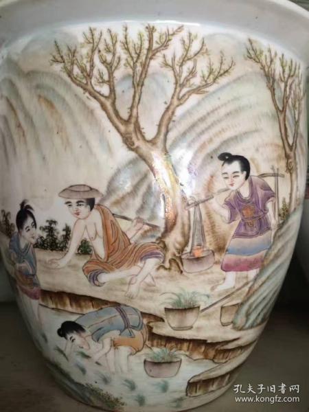 画缸 瓷器 民国时期 曾福庆人物缸 古玩  古董 收藏品 艺术品