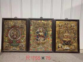 木框鎏金唐卡,皮克老辣,包浆老道,保存完好,品相如图,单个售价390元