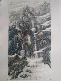 保真,当代山水画名家,海城市美协副主席孙明先生六尺整纸179×96cm国画佳作一幅