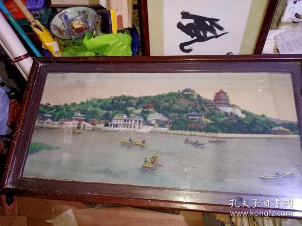 七八十年杭州都锦生织绣画----北京颐和园万寿山,尺寸95x45公分