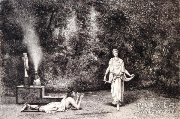 """1886年意大利艺术系列铜版蚀刻版画《对牧神的崇拜》—意大利画家""""Cavaliere A Scifoni""""作品 40x29cm"""