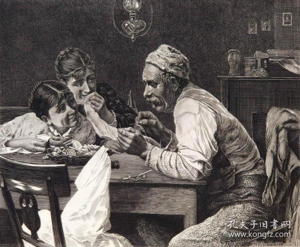 """1886年意大利艺术系列铜版蚀刻版画《艰巨的任务》—意大利画家""""A MORADEI""""作品 40x29cm"""