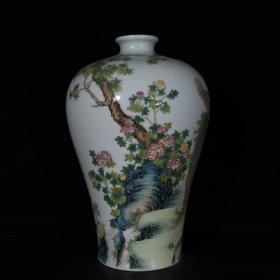 清雍正珐琅彩凤凰牡丹花卉诗意梅瓶