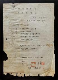 大连大学医学院生理学筹建人、中国生理学会理事、生理学家 吴襄(1910-1995) 签名 郑谦1952年 中国生理学会入会申请书手稿 一份