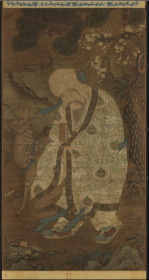 【复印件】仿真图轴:寿星图轴,宋人绘,描绘了寿星亦称南极老人星,其信仰起源于古人的星宿崇拜,宋人绘。纵:61.16厘米,横:32.78厘米