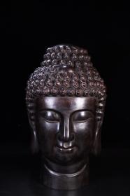 回流:老紫檀木雕藏传佛头像