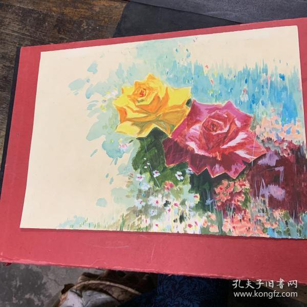 玫瑰水粉画
