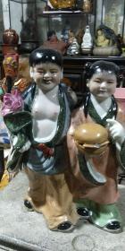古玩 民间收藏 瓷器 曾龙生粉彩人物 和合二仙