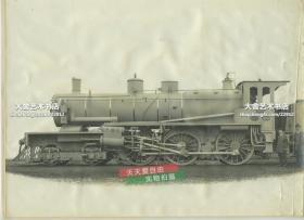 """1912年比利时图比兹火车公司制造的火车机车车头高清大幅原版银盐照片,28.8X21厘米,泛银。京汉铁路为比利时提供贷款建设,所需配套材料、设施由汉阳铁厂及比利时提供。照片中火车头是比利时图比兹为京汉铁路制造。火车头铭牌""""KINHAN""""清晰可见,另一中文铭牌为""""比利时国京城制造合股公司"""