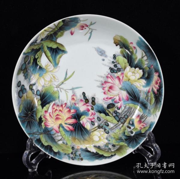 清雍正珐琅彩荷叶纹盘