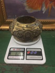 纯铜聚宝盆【材质;黄铜,重821克,给财神爷当香炉十分不错】高9.8厘米,口直径8.9厘米,重821克