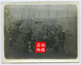 1919年河北唐山北洋开滦矿务总局赵各庄矿附近背柴的男孩们,左侧蹲坐的两位是在赵各庄矿的外国工程师,11.3X8.8厘米,泛银