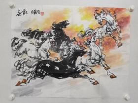 保真书画,当代画马名家,易洪斌《奔马》国画佳作一幅,尺寸61.5×79.5cm。易洪斌,中国美术家协会理事,吉林省美术家协会主席,名誉主席。