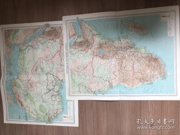 1922年 非洲地图两张 每张59*46cm