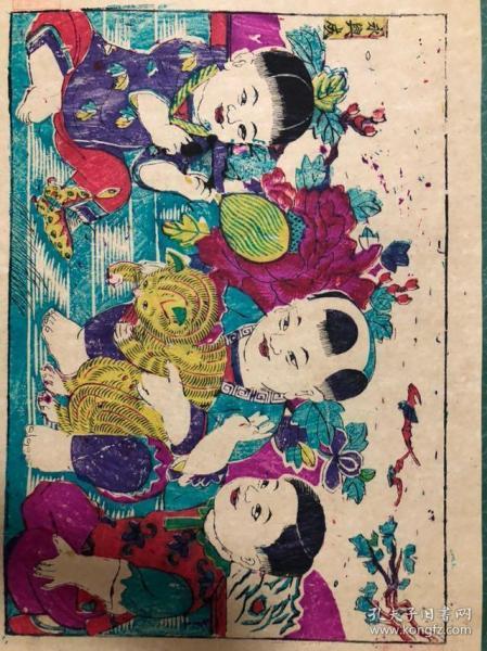 木版年画  耄耋富贵(60.5×46.5)cm