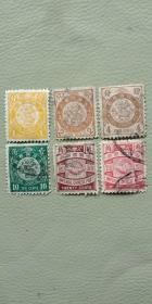 大清国邮票,日本石印蟠龙邮票6枚一小套,品如图完好全品,包老包真