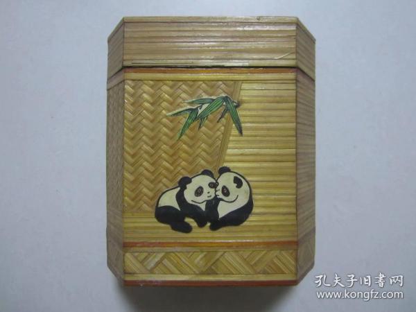 精美竹皮木壳熊猫图案的茶叶盒