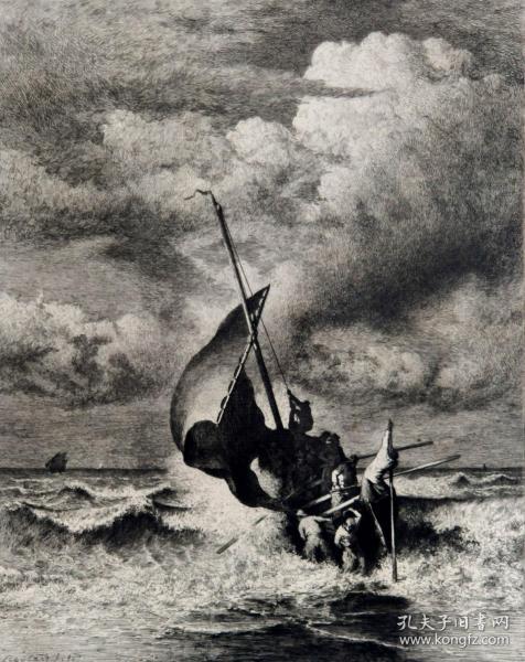 """""""大英博物馆藏画""""""""原刻版画""""1879年法国蚀刻铜版画《迎风浪出海的帆船》—法国画家"""" Auguste Boulard""""作品 雕刻 法国ARCHES版画专用水印纸 43x30cm """"1879沙龙展出作品"""""""