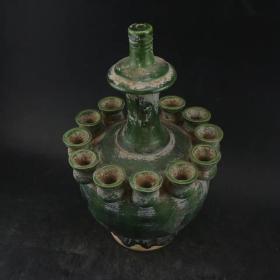 唐三彩绿釉功夫瓶