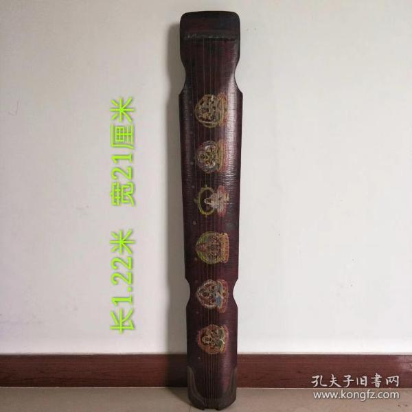 桐木制七弦琴一把,绘制佛教观音佛像,保存完好,正常使用,品相如图