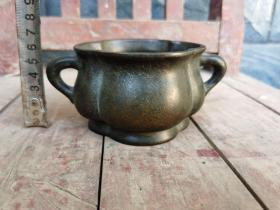 古董古玩老铜器明代双耳铜炉