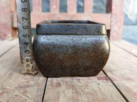 古董古玩老铜炉方形铜香炉