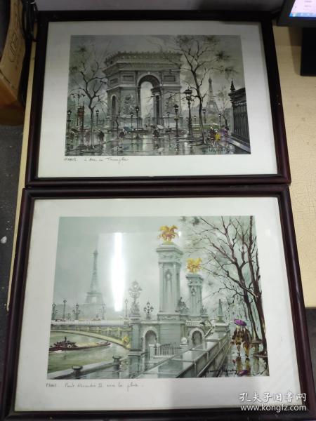 法国画 艾弗尔铁塔 凯旋门 2幅画合售 带框售 具体详见图片!