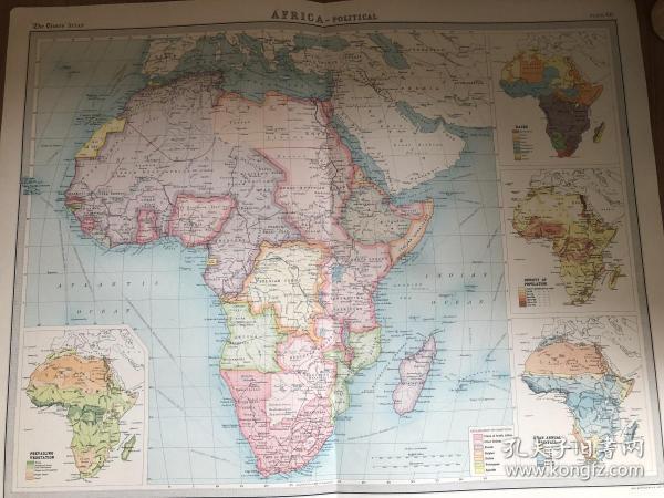 1922年 非洲政区图中59*46cm