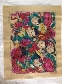 木板年画  五业兴旺  (53×43)cm