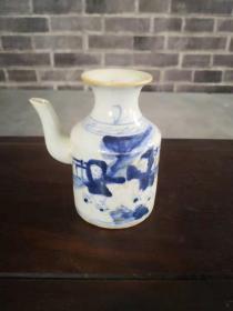 清末青花人物温酒壶,胎釉老道绘画精美保存完好包老包真