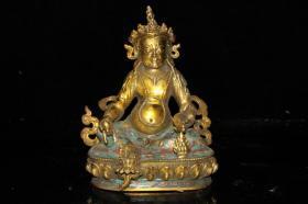 古玩收藏黄铜鎏金景泰蓝黄财神摆件