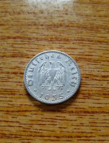 早期少见 德国50芬尼铝币 1935年