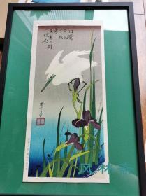 白鹭下田千点雪 歌川广重短册绘花鸟风月之一《菖蒲与鹭鸶》 悠悠洞复刻浮世绘 不带框