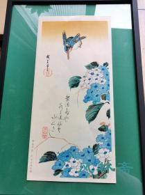 歌川广重的花鸟风月 《紫阳花 翠鸟》 大短册判 复刻浮世绘 不带框