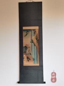 葛饰北斋《诗歌写真镜·李白》大正复刻木版画 日本原裱挂轴 百年浮世绘古董