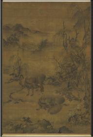 【复印件】仿真图轴:牧梦占丰图轴,元人绘,纵:54.25厘米,横:36.95厘米