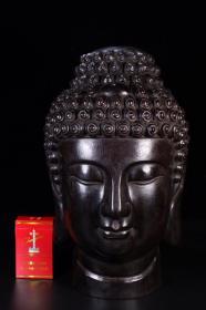 回流:老紫檀木雕藏传佛头像。